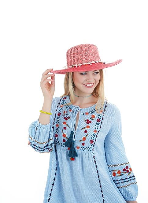 Laslusa İçten Ayarlanabilir Hasır Istiridye Kabuklu Geniş Kenar Şapka Oranj